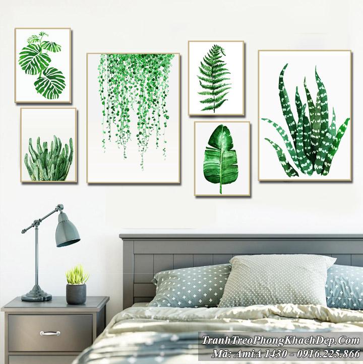Tranh lá cây Bắc Âu trang trí phòng ngủ đẹp Amia 1430