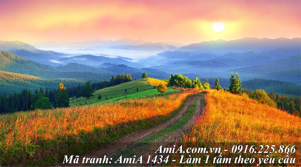 Tranh treo phòng khách thuộc hành Thổ với cảnh thảo nguyên đồi núi AmiA 1434