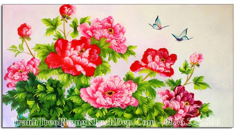 Tranh vẽ sơn dầu hoa mẫu đơn AmiA TSD 392
