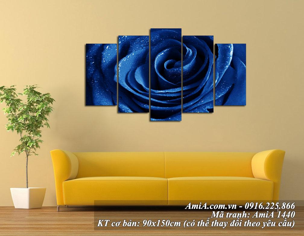 tranh treo phong khach dep bong hong xanh amia 1440