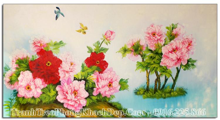 Tranh sơn dầu hoa mẫu đơn AmiA TSD 194