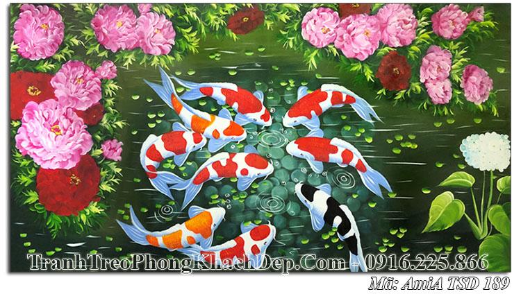 Tranh vẽ sơn dầu cá chép hoa mẫu đơn