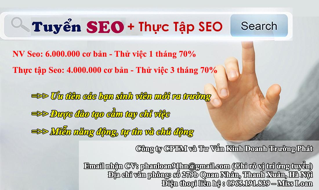 Tuyen nhan vien Seo dao Tao thuc tap Seo co luong o Ha Noi