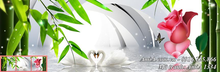 Tranh treo tuong doi chim thien nga trang canh truc hoa hong Amia 1334