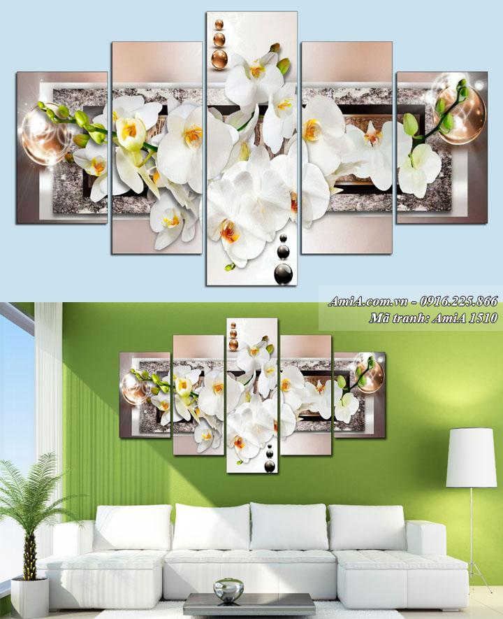 Hình ảnh tranh treo phòng khách thuộc hành Kim AmiA 1510 phong lan trắng