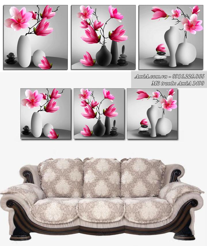 Hình ảnh tranh treo phòng khách hành Kim bình sứ AmiA 1490