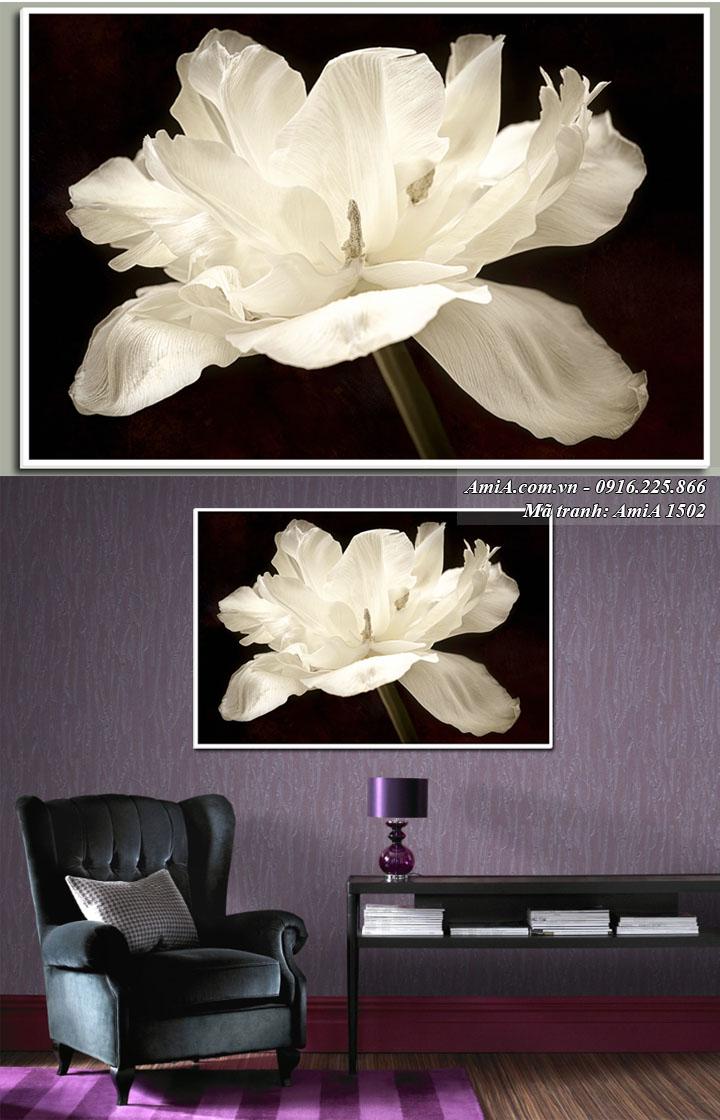 Hình ảnh tranh treo phòng khách hoa trắng thuộc hành Kim AmiA 1502