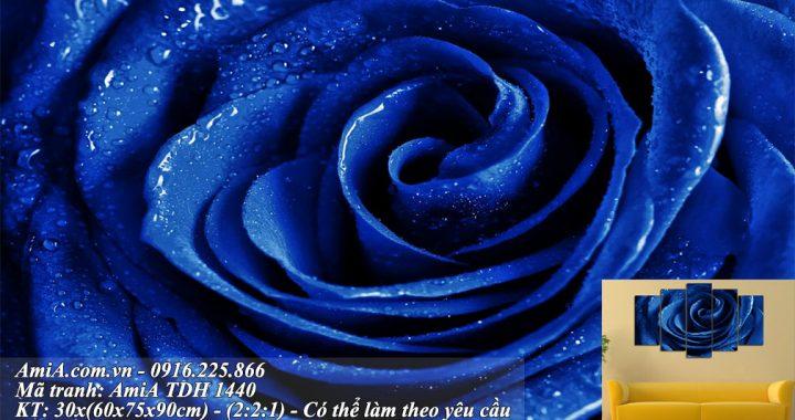 Tranh hoa hong xanh treo tuong hien dai