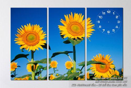 Tranh hoa huong duong AmiA 186 bo 3 tam