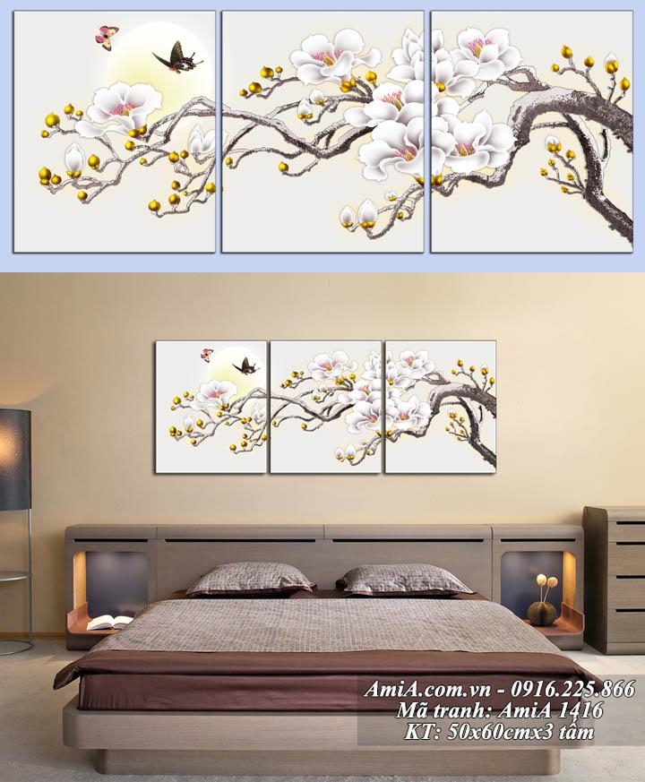 Hình ảnh tranh treo tường hành Kim AmiA 1416 hoa mộc lan dưới trăng