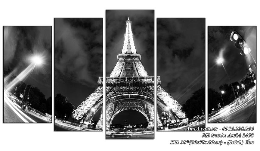 Tranh phong canh thap Eiffel ve dem bo 5 tam AmiA 1458