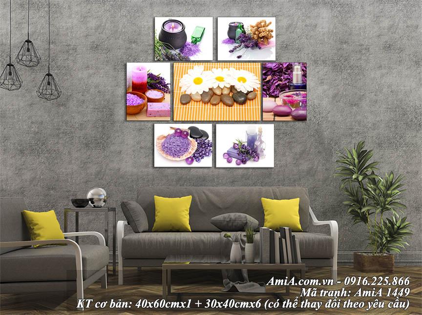 Tranh ghép bộ hoa đá nến trang trí phòng khách hiện đại