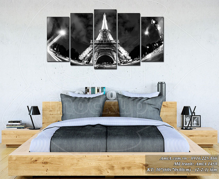 Tranh treo phong ngu hien dai Amia 1458 tháp Eiffel ve dem