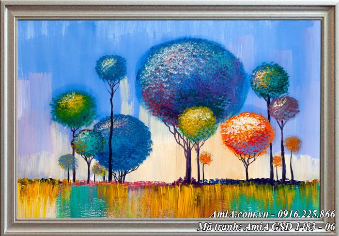 Vườn cây xanh đỏ - Tranh giả sơn dầu treo phòng khách nghệ thuật