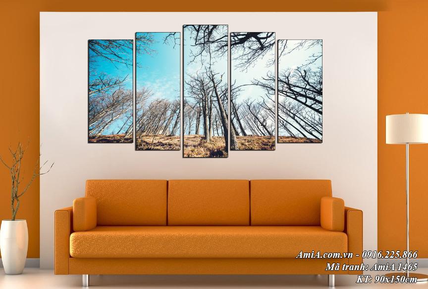 Tranh phong cảnh rừng cây treo phòng khách đẹp và ý nghĩa