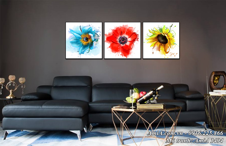 Tranh hoa treo phòng khách nghệ thuật bộ 3 bức tranh hoa Amia 1494