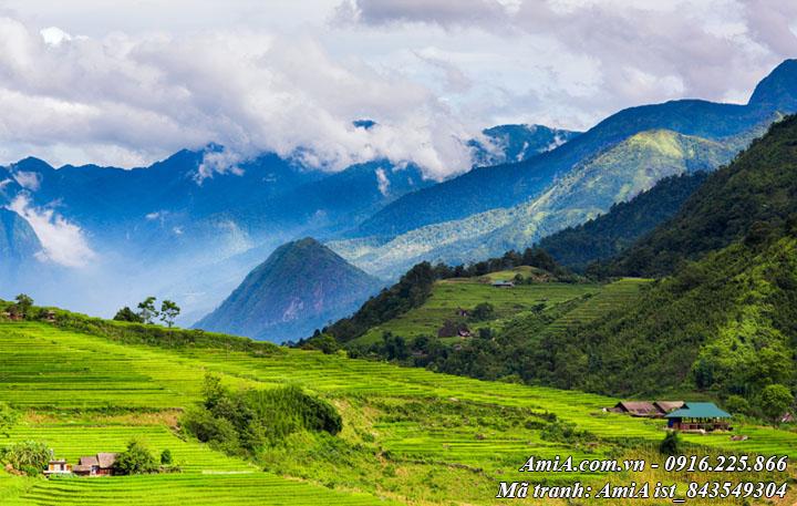 Hình ảnh phong cảnh núi rừng tây bắc giữa mây trời trong xanh