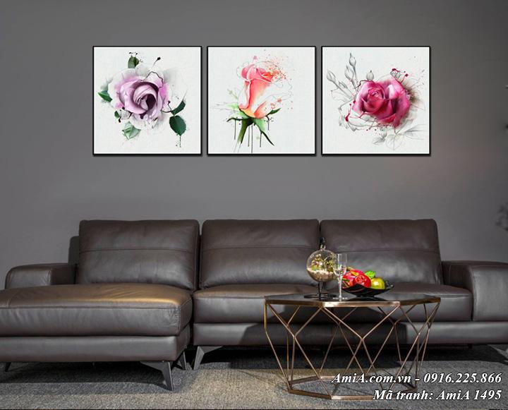 Tranh Amia 1495 là bộ tranh 3 bông hoa hồng đẹp nghệ thuật treo ở phòng khách