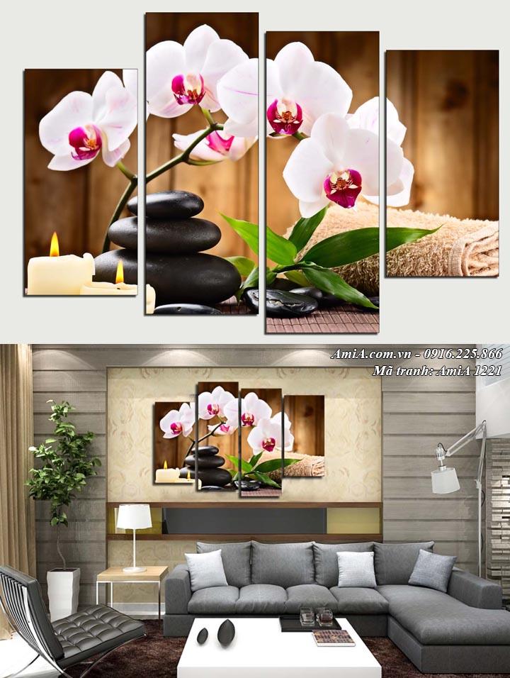 Tranh hoa lan màu trắng Amia 1221 treo phòng khách đẹp
