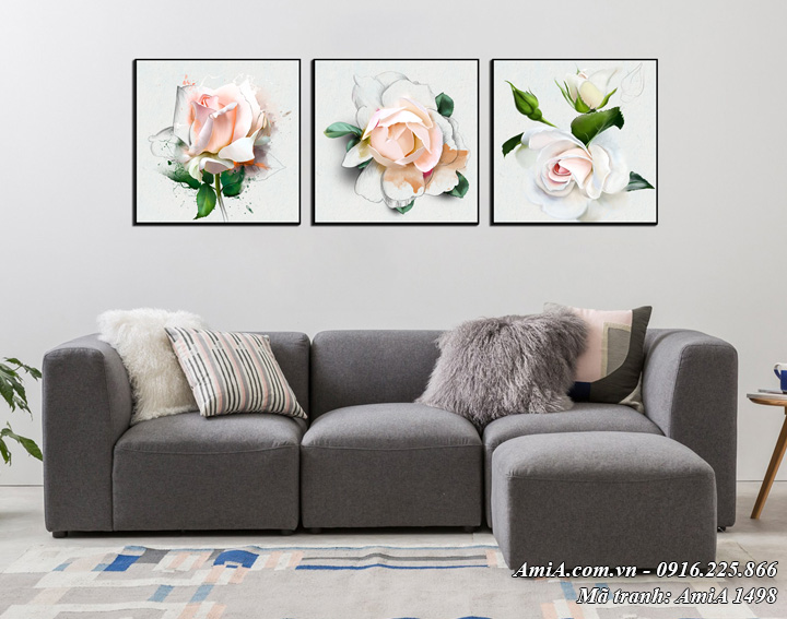Hình ảnh tranh canvas treo tường phòng khách 3 bông hồng trắng AmiA 1498