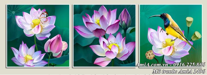 Tranh treo tường in trên vải canvas hoa sen nghệ thuật 3 tấm