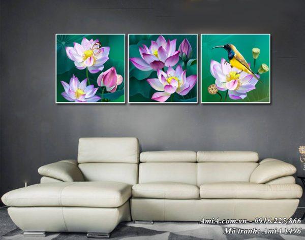 Tranh treo tường nghệ thuật hoa Sen 3 tấm AmiA 1496