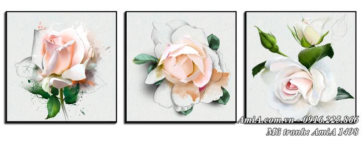 Tranh treo tường canvas nghệ thuật bộ 3 hoa hồng AmiA 1498