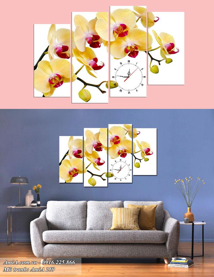 Hình ảnh bộ tranh đồng hồ hoa lan treo tường phòng khách sang trọng Amia 259