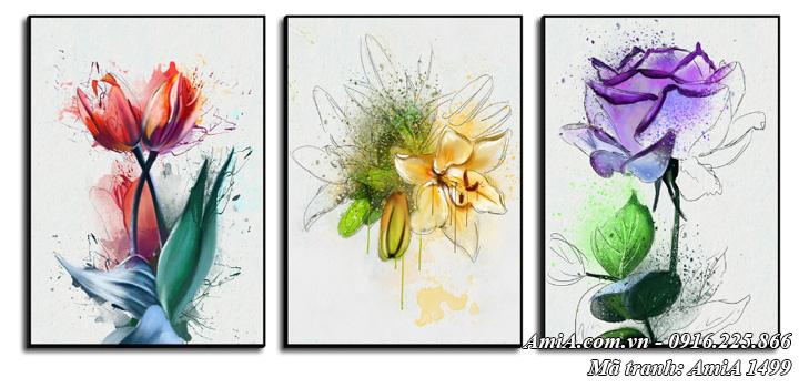 Tranh canvas nghệ thuật treo tường bộ hoa 3 tấm AmiA 1499
