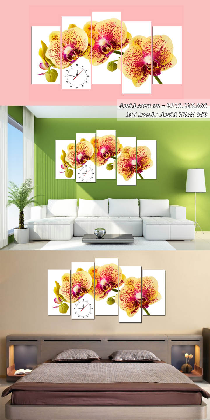 Hình ảnh tranh hoa lan AmiA 389 màu cánh gián trên ghế sofa và treo trong phòng ngủ