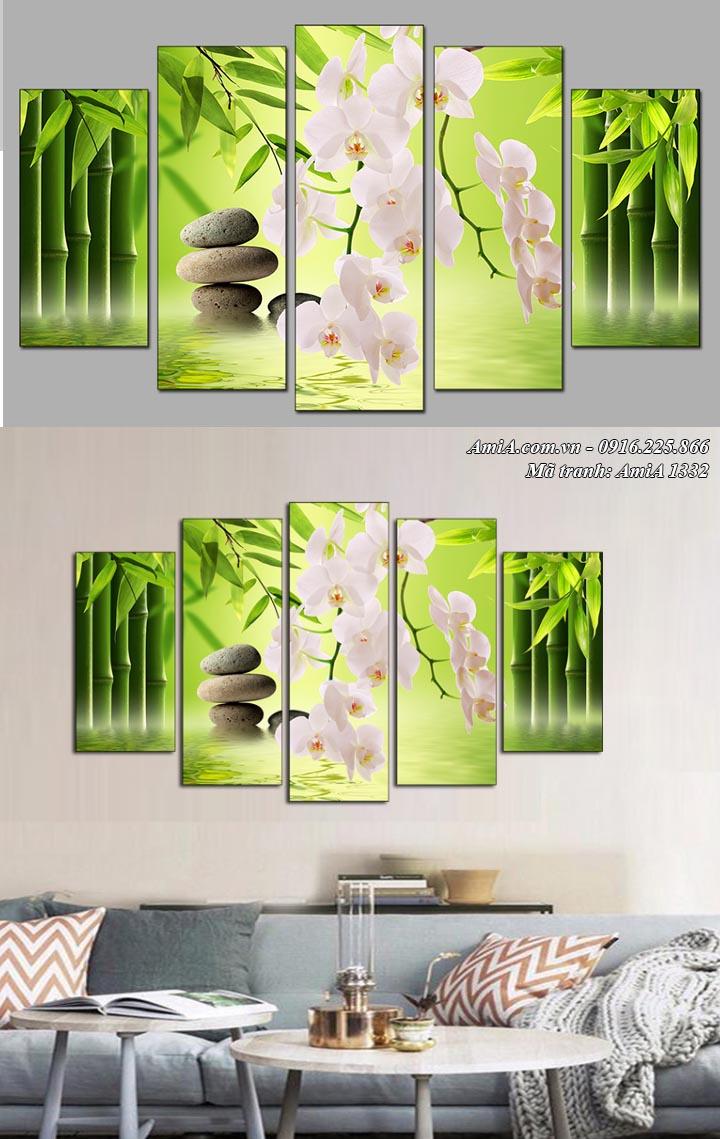 Hình ảnh tranh AmiA 1332 treo trên ghế sofa phòng khách hoa lan trắng