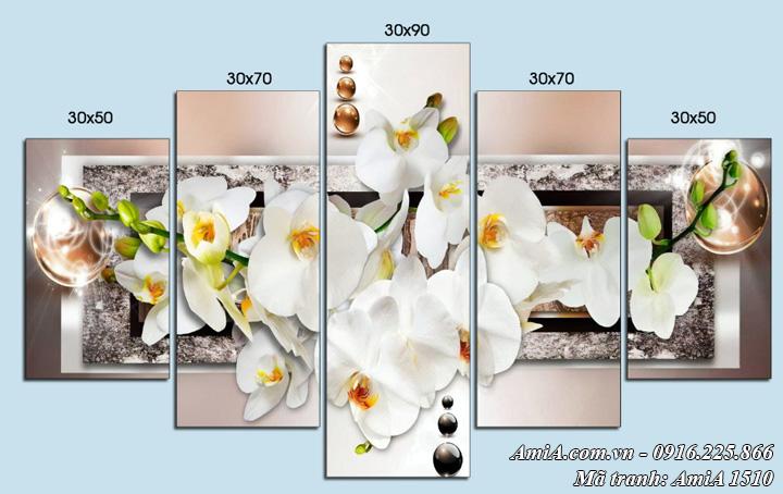 Tranh ghép bộ hiện đại hoa lan trắng AmiA 1510