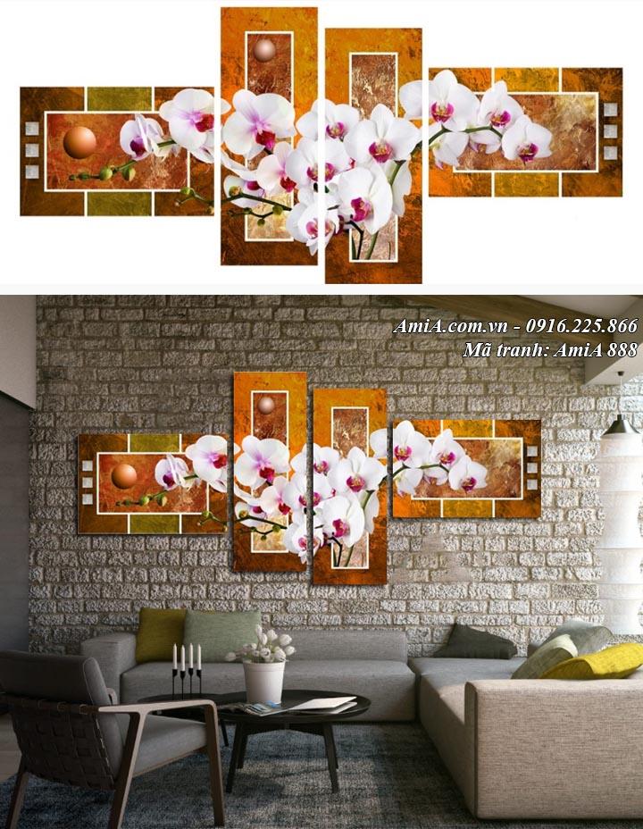 Hình ảnh tranh amia 888 ghép bộ vintage cổ điển hoa lan trắng