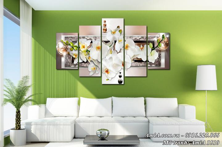 Tranh treo phòng khách hoa lan trắng hiện đại AmiA 1510