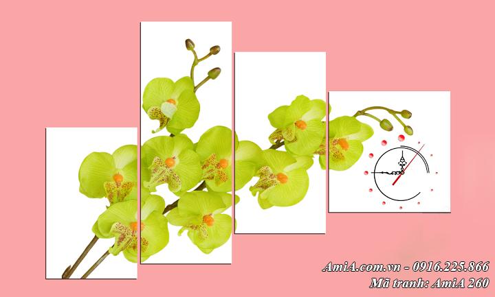 Tranh AmiA 260 hoa lan vàng bộ 4 tấm