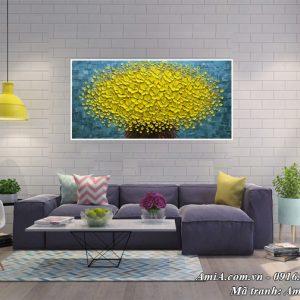 Hình ảnh tranh hoa mai vàng treo phòng khách phú quý