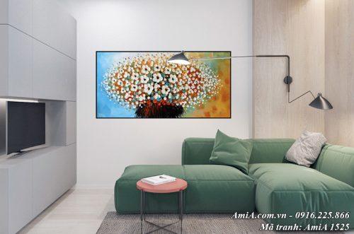 Hình ảnh tranh treo tường phòng khách hoa giả sơn dầu nghệ thuật AmiA 1525