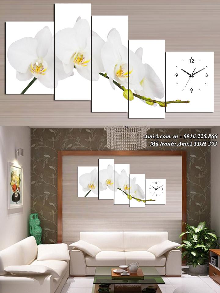 Hình ảnh tranh khổ lớn treo phòng khách hoa lan trắng AmiA 252
