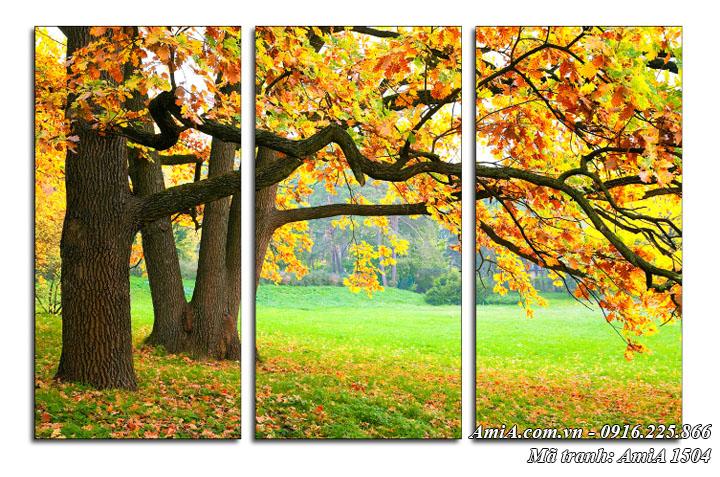 Tranh cây phong lá đỏ mùa thu phong cảnh đẹp AmiA 1504