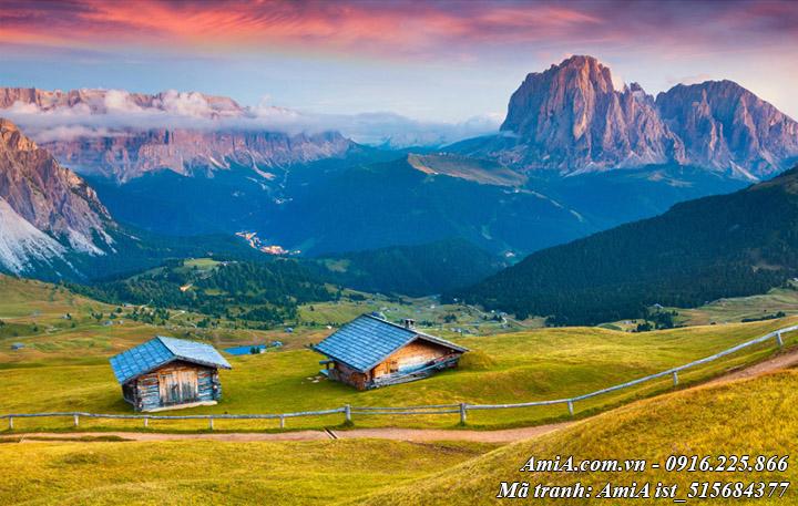 Hình ảnh tranh phong cảnh ngôi nhà nhỏ trên đồi đẹp