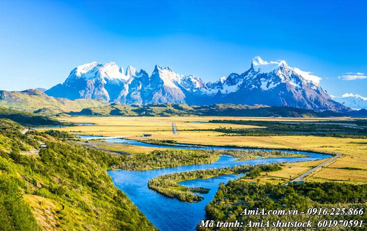 Hình ảnh tranh sông hồ núi non đẹp