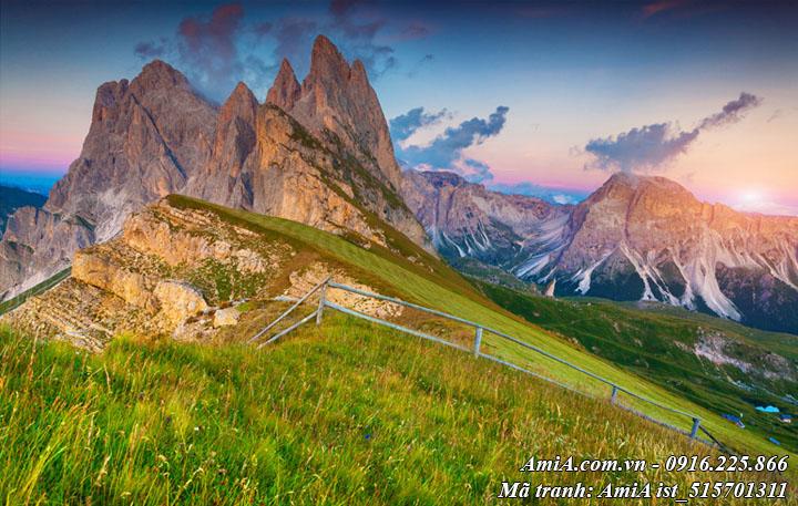 Hình ảnh tranh phong cảnh tây bắc đồi núi trong xanh