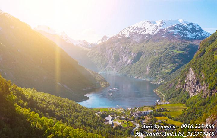 Hình ảnh tranh núi rừng thiên nhiên giữa hồ nước