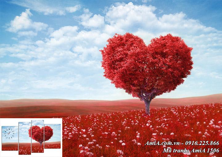Tranh khổ lớn phong canh đồi hoa trái tim một tấm theo yêu cầu