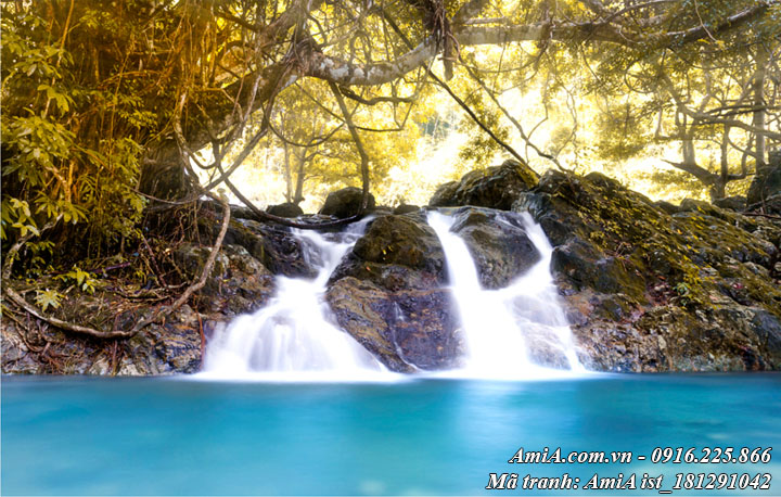 Hình ảnh tranh sông suối mát mẻ hồ nước trong xanh