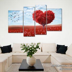 Tranh AmiA 1506 phong canh đồi hoa trái tim treo phòng khách
