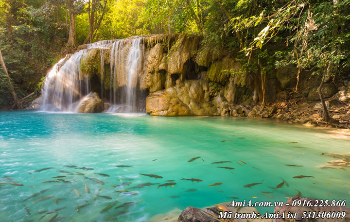 Tranh phong cảnh thác nước suối cá mát lành đẹp mắt