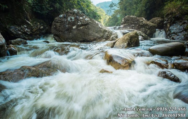 Hình ảnh tranh phong cảnh đẹp thiên nhiên sông suối mát lành