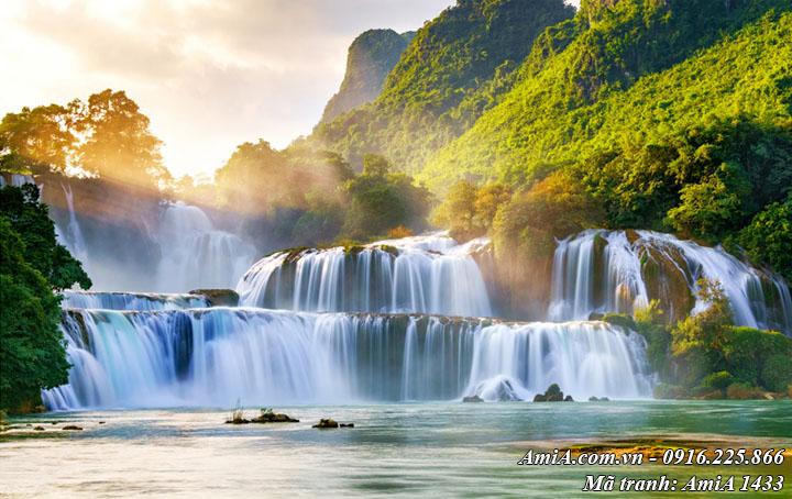 Hình ảnh tranh phong cảnh đẹp thác nước bản Giốc