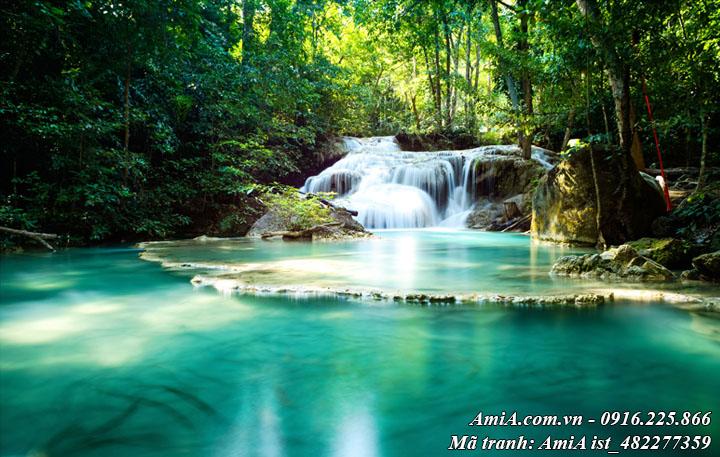 Hình ảnh tranh tươi xanh giữa núi rừng thác nước đẹp